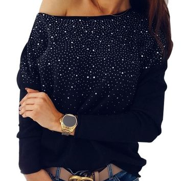 Fashion Long Sleeve Beaded Velvet Blouse