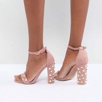 Glamorous Blush Block Heeled Sandals With Pearl Embellishment at asos.com