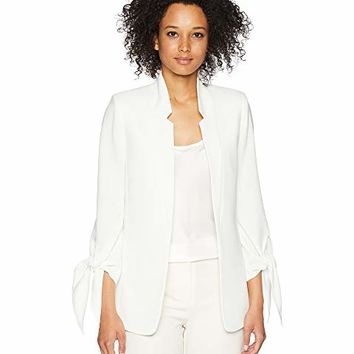Tahari by ASL Open Crepe Tie Sleeve Drape Jacket