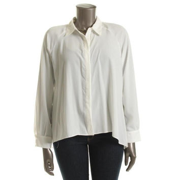 Chelsea & Theodore Womens Cut-Out Chiffon Button-Down Top