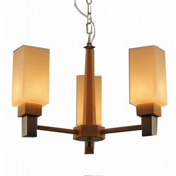 3 light wood living room concise countryside modern glass pendant lamp light chandeliers