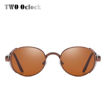 TWO Oclock Vintage Steampunk Sunglasses Men Women Designer Punk Sunglass Retro Metal Sun Glasses UV400 Eyewear Oval Oculos X7725