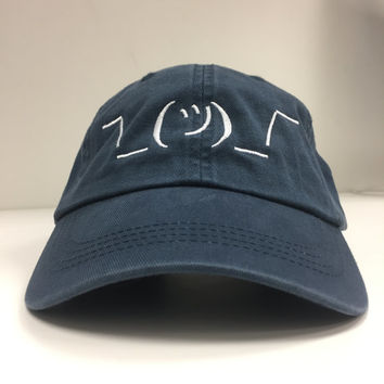 Shrug Emoji Dad Hat - Navy Blue Adjustable Dad Style Hat
