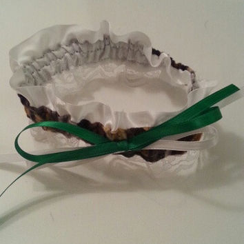 RT Green Camo, green, white wedding bride garter belt. Any color to match your wedding Style.