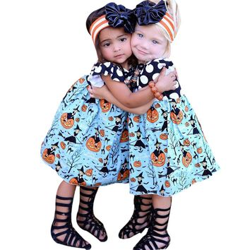 2017 Kids Clothes for Halloween Girls Pumpkin Cartoon Princess Dress Fashion Patchwork Outfits Vestido Festa Infantil