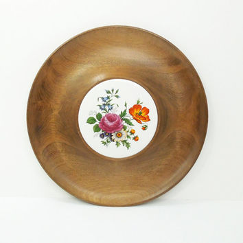 Woodbury Woodware wood and floral ceramic tile cheese plate tray serving tray platter from Shelburne Vermont