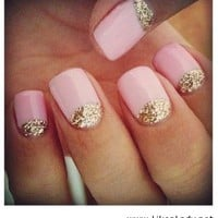 Cute half moon pink nails - LikeaLady.net - inspiring picture on Favim.com