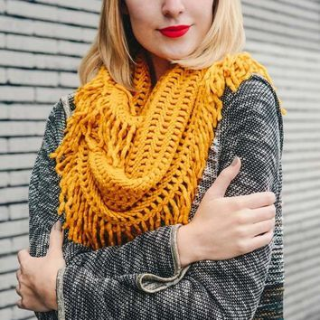 Warm Greetings Tassel Infinity Scarf, Goldenrod