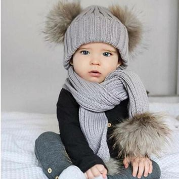 2pc Knitted Beenie Cap Baby Boy or Baby Girl Hat & Scarf w/Pom Poms.