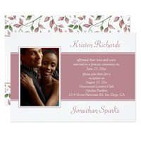 #2Pink Green Leaves Photo Garden Reception Wedding Card
