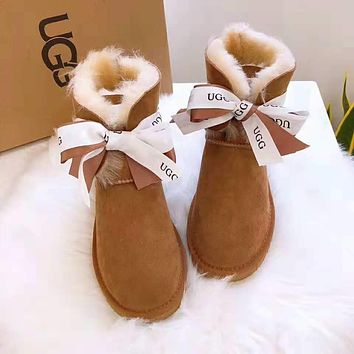 """UGG"" Winter Trending Women Stylish Warm Bowknot Wool Snow Boots Brown"