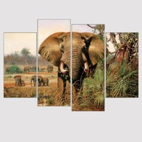 Modern Large Canvas Paintings African Elephant Paintings Animal Art Print Wall Painting Home Decor Oil Picture Unframed 4 Pieces