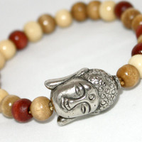 Buddha Bracelet, Wooden Beads & Antiqued Silver, Stacking, #armcandy #Buddha #style