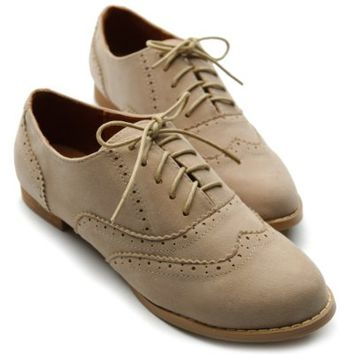 Ollio Women's Shoe Ballet Flat Faux Suede Wingtip Lace Up Oxford(8.5 B(M) US, Beige)