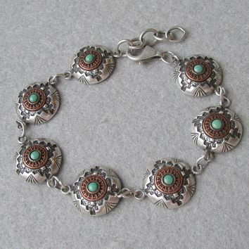 Exceptional Native American Kenneth Johnson Concho Style Sterling Silver, Copper & Turquoise Bracelet, Size Large