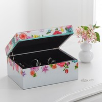 MayBaby Large Jewelry Box, Flowers + Black Dots