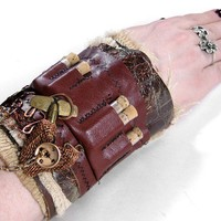 Steampunk Cuff  Industrial BROWN LEATHER Mixed Media by edmdesigns