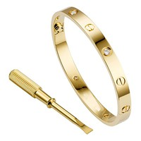 """Stainless Steel Couple Jewelry Screw Oval Love Bracelet Bangle with Stones (7.0""""inches gold with stone)"""