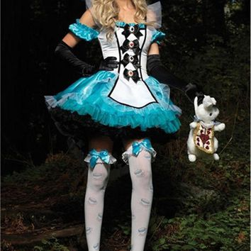 ICIKHY9 Plus Size XL Alice In Wonderland Costume Maid Fantasia Fairy Tale Cosplay Halloween Costumes For Women Adult Dress