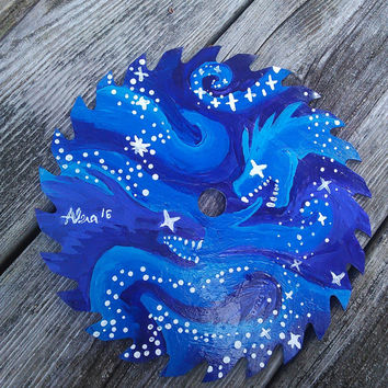 Painted saw Blade,Dragon Painting,Galaxy Space Stars Artwork Painting, Nebula Solar System Art, Rustic Cabin Decor, Dragon Artwork, Dragons