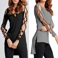Women Hollow-Out Long-Sleeve Tops