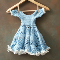 Hand Crochet Doll Dress in Baby Blue with Pearl Accents, Handmade Doll Dress, Blue, White, Toys, Doll Clothing, Crochet