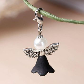 White & Black Lovely Dress Guardian Angel Wing Pendantwith Acrylic Spacer And Lobster Clasps 38x22mm10 Pcs 2016 New