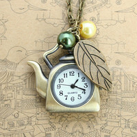 Vintage tea pot antique bronze pocket watch necklace by luckyvicky