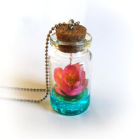Lotus on a magic lake bottle necklace, pond scene, vial pendant with a pink water lily or lotus flower