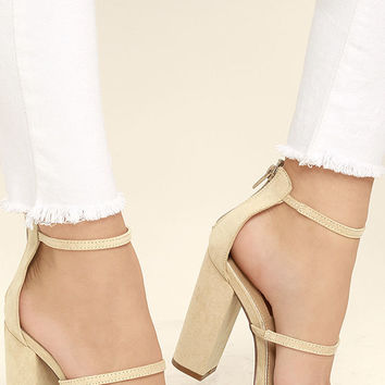 Fifi Nude Suede Ankle Strap Heels
