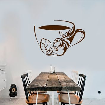 Vinyl Wall Decal Cup Of Coffee Tea Dishes Kitchen Decor Stickers Unique Gift (1519ig)