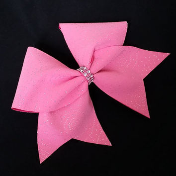 Cheer bow, neon pink cheer bow, glitter cheer bow, cheerleading bow, cheerleader bow, softball bow, red cheer bow, pop warner cheer bow