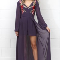 Embroidered Royalty L/S Caped Romper {Grape}