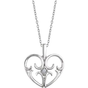"Sterling Silver .03 CT Diamond Heart 18"" Necklace"
