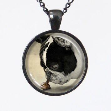 Dog Necklace- Kiss Me Dog & Snail- Animal Series