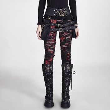 Gothic Women Broken Mesh Leggings Steampunk Women's Holes Ripped Leggings