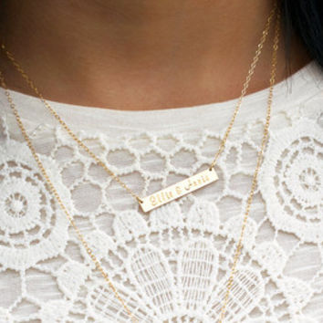 Coordinates Bar Necklace, GPS Coordinates Bar, GPS Coordinates Necklace, Coordinates Gift, Personalized Coordinates, Custom Hand Stamped