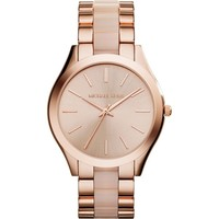 Michael Kors Watches Slim Runway Three Hand Stainless Steel Watch (Rose Gold)