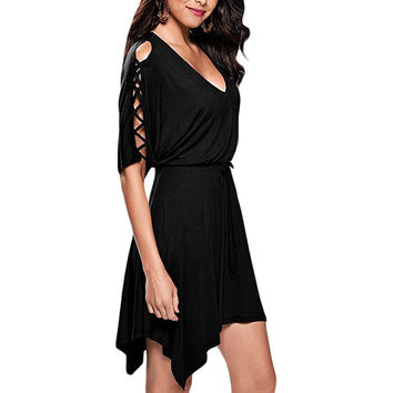 Black Lace Up Half Sleeves Dress LAVELIQ