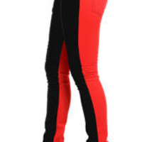 Front Back Split Leg Skinny Jeans Jeans Red & Black