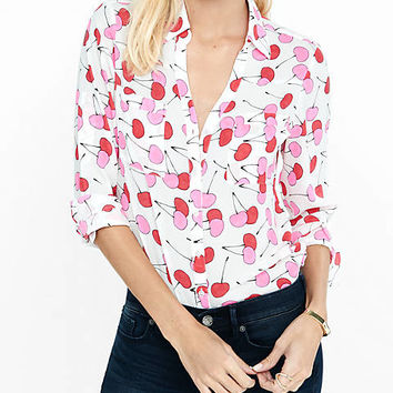 Original Fit Cherry Print Portofino Shirt from EXPRESS