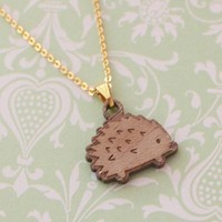 Little Wooden Hedgehog Necklace