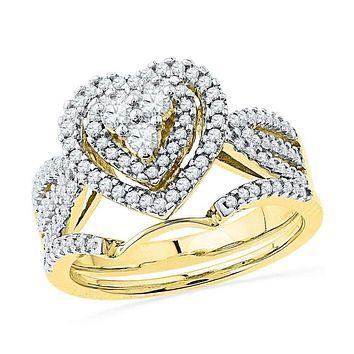 10kt Yellow Gold Women's Round Diamond Heart Bridal Wedding Engagement Ring Band Set 5/8 Cttw - FREE Shipping (US/CAN)