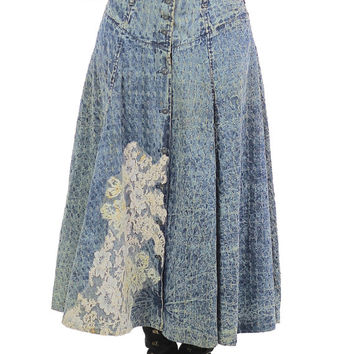 Acid wash Maxi skirt 80s High waisted Button up Floral appliqué Circle skirt Blue Tea length Vintage 1980s Medium