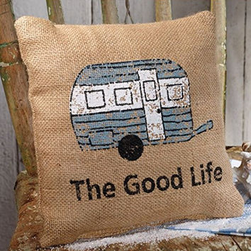 The Good Life - Camping / Traveling - French Flea Market Burlap Accent Throw Pillow - 8-in x 8-in