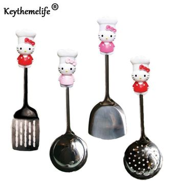Keythemelife Hello Kitty Kitchenware Stainless Steel Spatula Spoon Colander Multi-Purpose Kitchen Tools Utensils B8