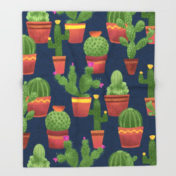 Terra Cotta Cacti Throw Blanket by Noonday Design