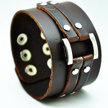 Black Real Soft Leather with Metal Snapper Buckle Men's Leather Wristband Cuff Bracelet   RZ0331