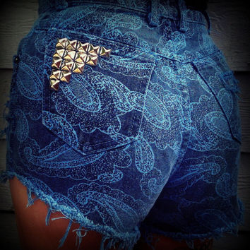 Vintage High Waisted Studded Cut Off Paisley by TrueBlueDryGoods