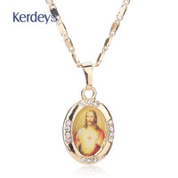 Women Men Cross Jesus Necklace Beads Jewelry Trendy 18K Gold Plated Pendant For Vintage Fine Statement Holiday Accessories